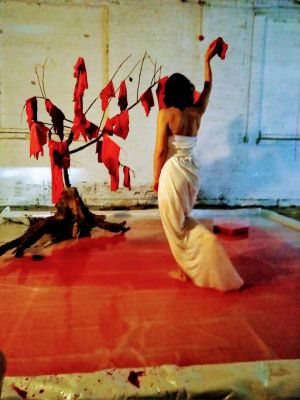performance at Kunst&Complex ''my heart is not here'' by lottebovi.nl