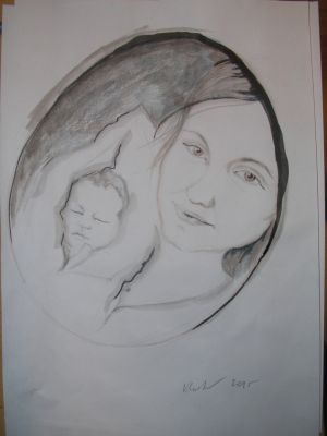My friend Misa and her baby boy by VLASTA CERNOCHOVA