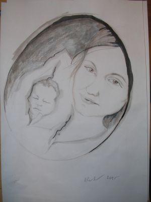 My friend Misa and her baby boy by VLASTA CERNOCHOVA